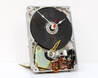 Computer parts clock, steampunk clock, Geek clock gift, antique dinosaur clock, geek lovers gift, Recycled Computer Hard Drive Clock,