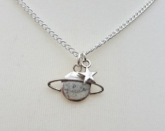 Saturn necklace, planet charm, silver star on chain, astronomy, quirky, geek jewellery