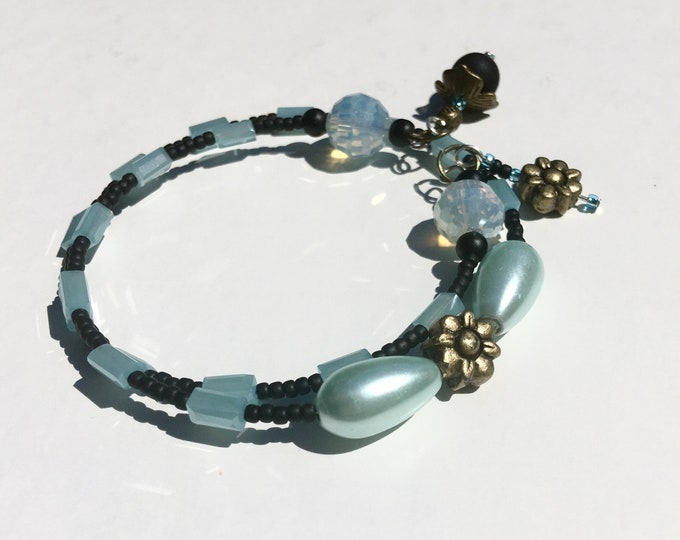 Zee-Zebra-Aqua - One of a Kind Wrap Around Memory Bracelet
