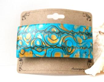 Hair Barrette 80 mm ( 3.2 inch )  Hair Slide, Barrette, Polymer Clay,Hair Stick,Shawl Pin, Hair comb, GOLD  BLUE