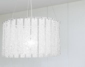 Italian chandelier with white glass round