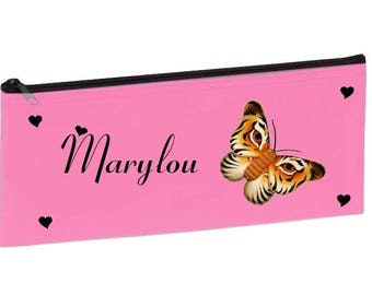 Kit school pale pink butterfly personalized with name
