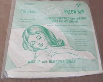 Vintage Pillow Case, 1960's Vassar Satin Pillow Slip, Case, NIP, Mid Century 1960's Decor