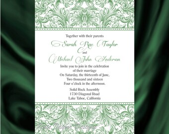 Victorian Wedding Invitation & RSVP  Vintage Wedding Invitation - Price Includes Matching Envelopes and Printed Return Address - Design 29
