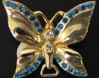 Vintage 1960s Cast Metal Butterfly Brooch Pendant with Blue Rhinestones