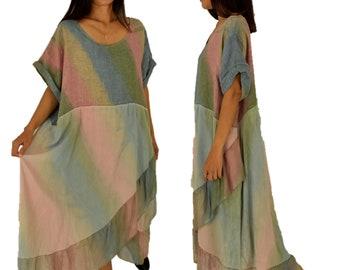 LE900BL Dress Batik volant Tunic One size used look short sleeve gr. 44 46 48 Blue/beige/Green
