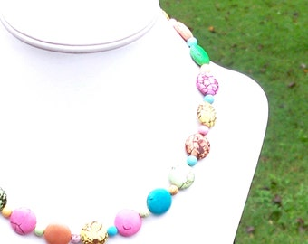 Pastel Necklace Pastel Turquoise Necklace Multicolor Necklace SUPER COLORFUL NECKLACE 15mm Round Gemstone Beaded Necklace Easter Necklace