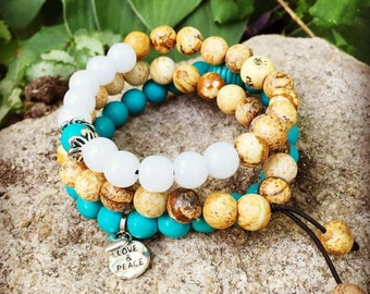 Yogi stack of three meditation mala bracelets in natural picture jasper and turquoise