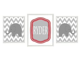 Elephant Nursery Wall Art Print Set - Gray Red White Chevron Decor - Name Personalize Customize Baby Boy - Wall Art Home Decor