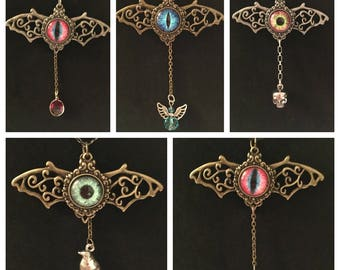 Handmade Winged Eyeball Necklace with Dangling Charms