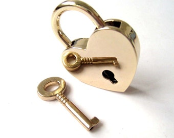 Gold Heart Lock Key Set for Hand Bag Clutch Backpack - 1pc