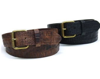 Leather mens belt Kroko embossed leather belt fullgrain leather Kroko vintage old brass roller buckle pull up leather real cow leather belt