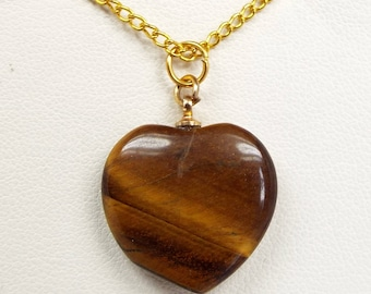 Vintage 18ct Gold Plated Necklace Chain and Tiger's Eye Gemstone Heart Pendant