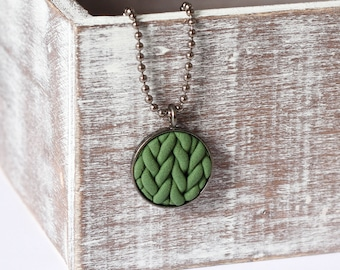 Knitted pendant - Khaki -  Pendant Necklace - gifts for her - gifts for friend - Handmade - clay - Jewellery - Jewelry - Gift wrapped