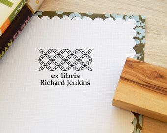 Greek Pattern Inspired #1 Bookplate Stamp on Olive Wood