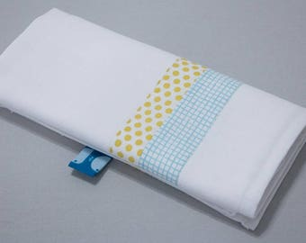 """Small Swaddle """"Calf"""" - blue gingham & yellow dots"""