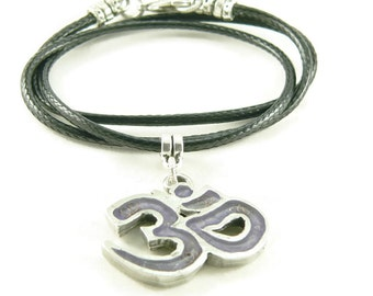 Orgone Energy Small Om Symbol Pendant Necklace with Vegan Leather Cord Necklace - Choose Your Stone/Color - Artisan Jewelry