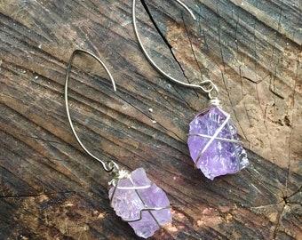 amethyst wire wrapped earring raw gem silver hook purple stone dangle earrings