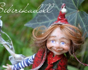 Author's doll  //Forest Elf// New Year's Dwarf // natural materials //miniature doll// Famous Authors // Collectibles//