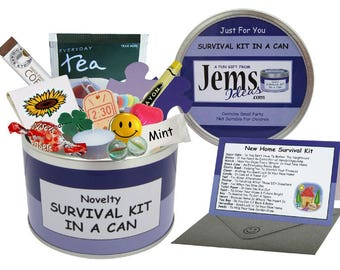 New Home Survival Kit In A Can. Fun Housewarming/New House/Flat/Apartment Gift & Card. OTHER COLOURS AVAILABLE.