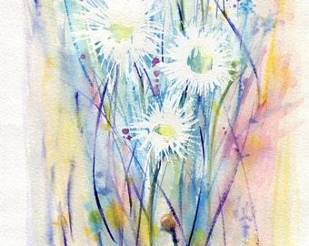 Daisies, A New Day, Dawn, Watercolor Floral Art, Field Flowers, Giclee prints, Original under 50