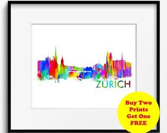 Zurich Skyline Watercolor Art Print (327) Cityscape Switzerland