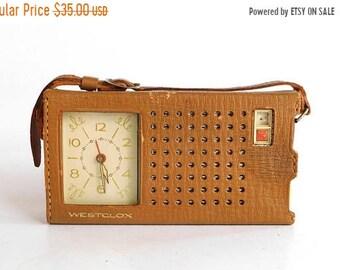 Sale - Vintage 1960's WESTCLOX Transistor Radio and Clock in Carrying Case - Clock Works - Radio Needs Repair