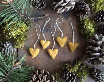 Felted wool heart ornaments, set of 5, Amber Heather, heart Christmas ornaments, miniature heart ornaments, gift for teacher, gifts under 30