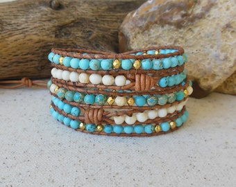 Turquoise Leather Wrap Bracelet, Bohemian Bracelet, Sundance Style, December Birthstone, 3rd or 11th Anniversary Gift, Sagittarius Woman