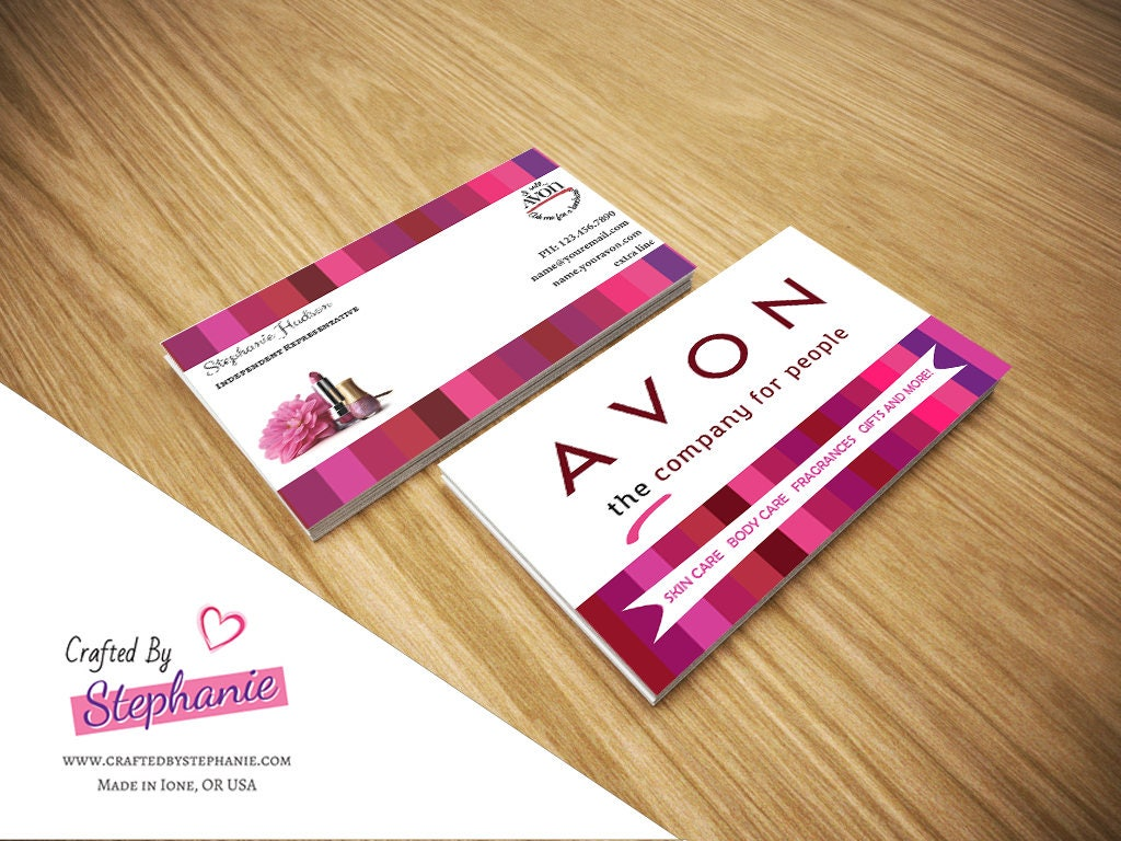 Double Sided Avon Gender Neutral Business Cards Digital