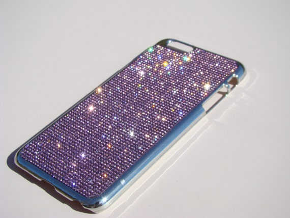 iPhone 6 Plus / 6s Purple Amethyst Rhinestone Crystals Silver Chrome Case,  Velvet/Silk Pouch Bag Included, .
