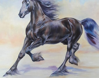 Black  Horse painting  11.7×11.7 inch Art Print from the Original Oil Painting