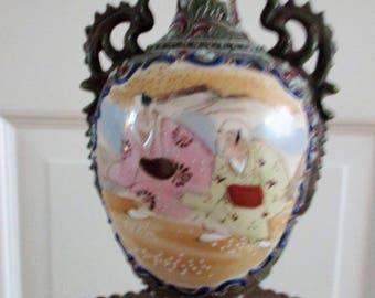 Satsuma vase, vintage pottery,Japanese vase, antique vase