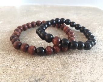 Bracelets for him and her - black and brown wood beads