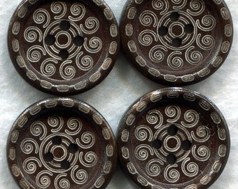 Chocolate Brown Wood Buttons Decorated Wooden Buttons 23mm (1 inch) Set of 8 /BT80