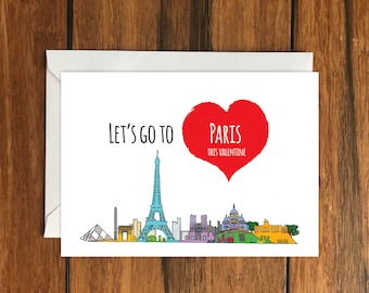 Let's Go To Paris This Valentine Blank greeting card, Holiday Card, Gift Idea A6