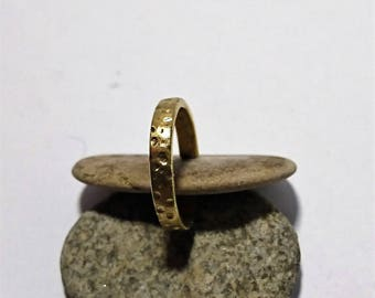 Meteorite hammered textured adjustable stacking ring- simple and minimalist moon surface