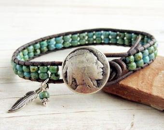 Indian Head Nickel Button and Leather Wrap Bracelet with Feather, Turquoise Blue Green Beaded Bracelet, Native American For Her For Him