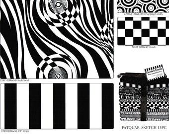 Fat Quarter Bundle Black and White Geometrics 13 Piece Fat Quarter Set