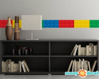 """Big Brick Wall Border Fabric Wall Decal - Set of Two 25"""" x 6.25"""" Sections - Removable, Reusable, Respositionable"""