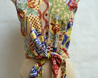 Perfect Summer 1980's PATCHWORK Print  CROPPED TOP