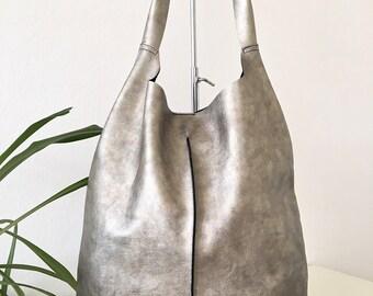 silver bag, Leather hobo bag, Shopping bag, Laptop bag, Handbag, Everyday bag, Large bag, Slouchybag, shoulder bag
