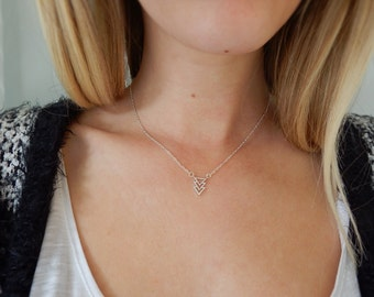 Silver Arrow Necklace   Triangle Necklace   Arrow Necklace   Short Pendant Necklace   Dainty Necklace   Short Necklace   Women's Gift