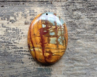 Picasso Jasper Pendant Bead - Oval - Shades of Brown, with Blue and Deep Maroon
