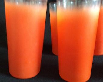 Drinking Glasses Orange Frosted Vintage Drinking Glass Set