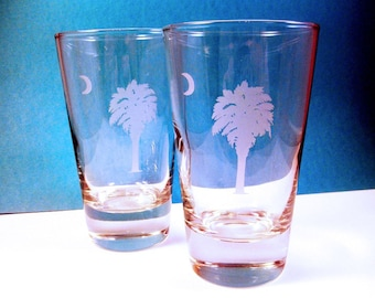 2  Pint Glass - SC Palmetto Tree