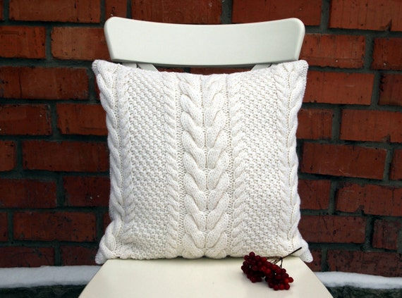 off white cable knit pillow cover 18x18 inches 45x45 cm. Black Bedroom Furniture Sets. Home Design Ideas