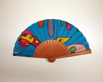 Handpainted Silk hand fan- Wedding hand fan-Abanico- Giveaways-Bridesmaids- Spanish hand fan-Blue-Pink-Yellow 14x7.5 inches (35 cm x 19 cm)