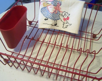 Vintage Rubbermaid Red Dish Drainer, Dish Rack, Glamping, Farmhouse Kitchen, Drying Rack, Vintage Kitchen
