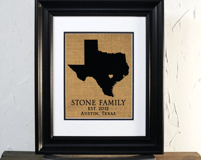 State of Texas Map Sign Art. Burlap Map. Wedding or Anniversary Gift. Family Last Name, City and State.